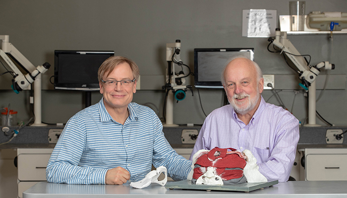 Bruce Wainman (left), director of the education program in anatomy, and Geoff Norman, professor emeritus of the Department of Health Research Methods, Evidence, and Impact at McMaster University.